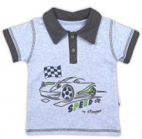 Bavlněné tričko/polo NICOL AUTO - krátký rukáv - melír sv. modrá