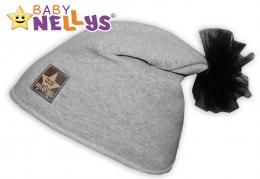 Bavlněná čepička Tutu květinka Baby Nellys ® - šedý melír