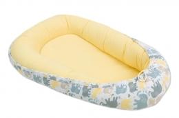 Oboustranné hnízdečko - kokon pro miminko - Žluté / sloni šedí, béžoví a žlutí