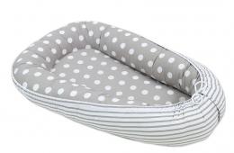 Oboustranné hnízdečko - kokon pro miminko - Bubble retro šedé / proužky šedé