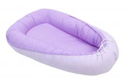 Oboustranné hnízdečko - kokon pro miminko - Tečky fialové / proužky fialové