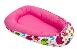 Oboustranné hnízdečko - kokon pro miminko - Růžové / sloni barevní