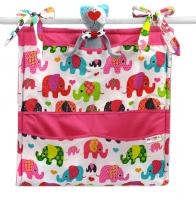 Kapsář Baby Nellys ® Sloník HAPPY - bílý/sloni růžoví