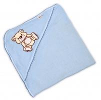 Dětská osuška TEDDY BEAR Baby Nellys s kapucí- sv. modrá