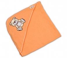 Dětská osuška TEDDY BEAR Baby Nellys s kapucí - losos