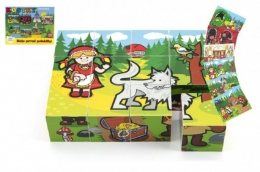 Kostky kubus dřevěné Moje první pohádky 12ks v krabičce 17x12,5x4cm