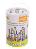 Dřevěné kostky v kyblíku ECO TOYS - 100 kusů