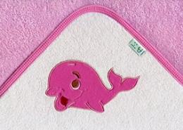 Osuška s kapucí - VELRYBA - růžová