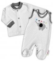 2-dílná kojenecká souprava Baby Nellys ® - Sloník - proužky šedé