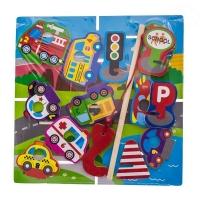 Dřevěné zábavné puzzle, na chytání a vkládaní EURO BABY - doprava