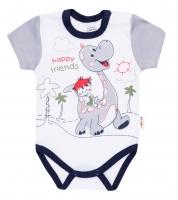 Bavlněné body krátký rukáv DINO Baby Nellys ®- Happy Friends