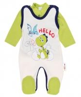 2 dílná sada - Bavlněné dupačky s košilkou DINO Baby Nellys ®- Hello -  krémová