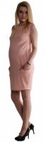 Těhotenské letní šaty s kapsami - pudrově růžové