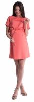 Těhotenské šaty s vázáním - korál