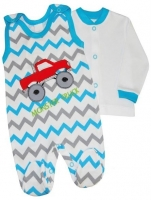 2-dílná kojenecká sada Baby Nellys ® ZIG ZAG - tyrkys/šedá