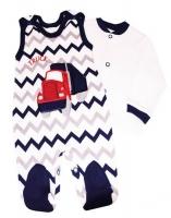 2-dílná kojenecká sada Baby Nellys ® ZIG ZAG - granát/šedá