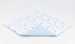 Hrací, přebalovací podložka 120x120cm - bílá/hvězdičky šedé,modré-sv. modrá