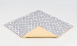 Hrací, přebalovací podložka 120x120cm -šedá/ornamenty-žlutá