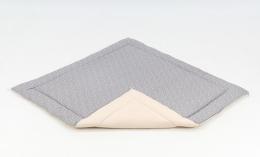 Hrací, přebalovací podložka 160x160cm - šedá/mini hvězdičky bílé-béžová