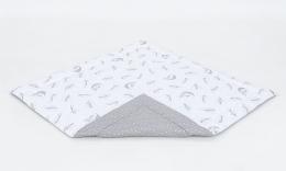 Hrací, přebalovací podložka 120x120cm - bílá/víly šedé-šedá/mini hvězdičky bílé