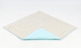 Hrací, přebalovací podložka 120x120cm - bílá/zigzag béžový-tyrkysová