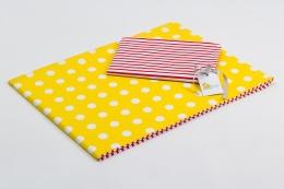 Bavlněné povlečení do postýlky  - žlutá-bílé puntíky/červené proužky
