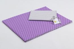 Bavlněné povlečení do postýlky  - fialová-bílé tečky/šedé proužky
