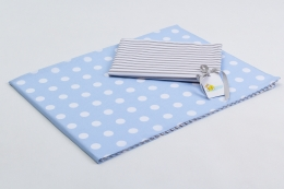 Bavlněné povlečení do postýlky  - modrá-bílé puntíky/šedé proužky