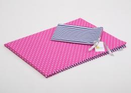 Bavlněné povlečení do postýlky  - sytě růžová-bílé tečky/granátové proužky