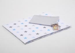 Bavlněné povlečení do postýlky  - bílá-tyrkysové hvězdičky/šedá