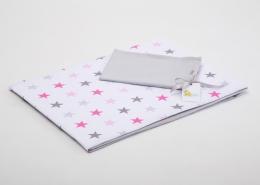 Bavlněné povlečení do postýlky  - bílá-růžové hvězdičky/šedá