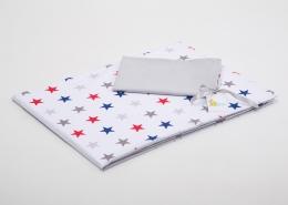 Bavlněné povlečení do postýlky  - bílá-barevné hvězdičky/šedá