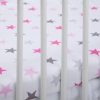 Bavlněné prostěradlo - Hvězdičky růžové