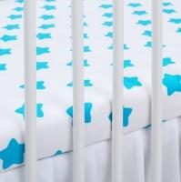Bavlněné prostěradlo - bílé/tyrkysové hvězdy