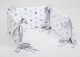 Mantinel na postýlku - bílý modré hvězdičky, stuhy šedé