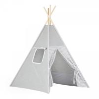 Stan pro děti teepee, týpí - šedý /bílý- proužky šedé