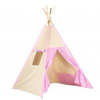 Stan pro děti teepee, týpí - béžový /růžový - hvězdičky bílé