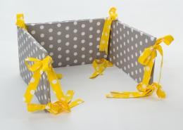 Mantinel na postýlku - šedý bílé puntíky, stuhy puntíky ve žluté