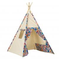 Stan pro děti teepee, týpí - béžový /barevné květiny