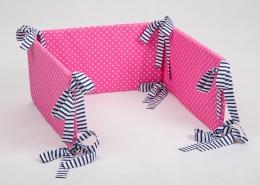 Mantinel na postýlku - růžový bílé tečky, stuhy granátové proužky