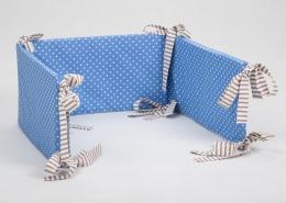 Mantinel na postýlku - modrý bílé tečky, stuhy hnědé proužky