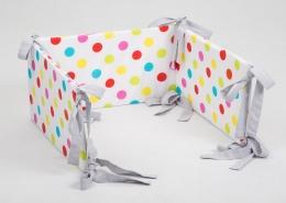 Mantinel na postýlku - bílý barevné puntíky, stuhy šedé