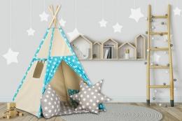 Stan pro děti teepee, týpí s výbavou - béžový /tyrkys s hvězdičkami