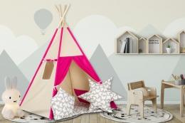 Stan pro děti teepee, týpí s výbavou - béžový /malina, šedé s motýlky