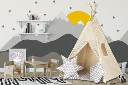 Stan pro děti teepee, týpí s výbavou - béžový /zig zag