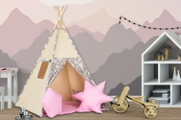 Stan pro děti teepee, týpí s výbavou - béžový /hvězdičky, sv. růžová