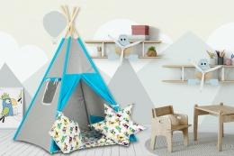 Stan pro děti teepee, týpí s výbavou - šedý / barevní papoušci, tyrkys