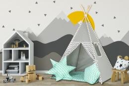 Stan pro děti teepee, týpí s výbavou - šedý / zigzag, máta