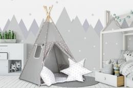Stan pro děti teepee, týpí s výbavou - šedý / hvězdičky v bílé,šedé