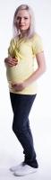 Těhotenské a kojící triko s kapucí, kr. rukáv - žluté